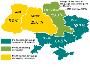 The Usage of the Russian language, a map with ...