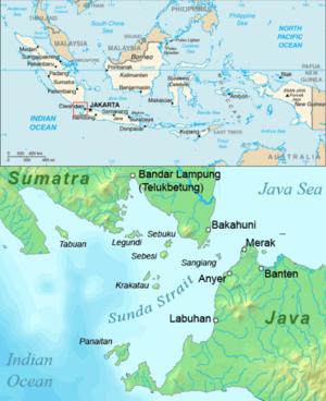 Map of the Sunda Strait, Indonesia.