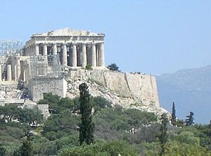 The Parthenon of Athens seen from the hill of ...