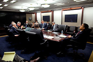 English: President Barack Obama meets in the S...