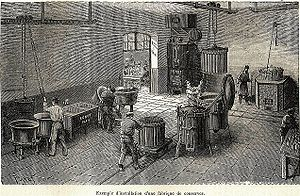 Inside a canned food factory. Engraving by Poy...