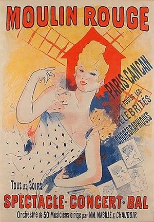 Jules Cheret, Moulin Rouge, 1890 Art Nouveau p...