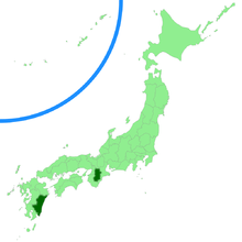 Map of Japan, with Nara and Miyazaki prefectures colored in dark green.