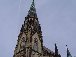 English: The spire of St. Joseph Church in Det...