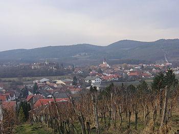 Ein Blick über die Ortschaft Droß in Niederöst...