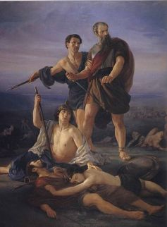 """Death of King Saul"", 1848 by Elie M..."
