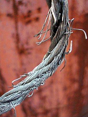 A fraying wire rope.