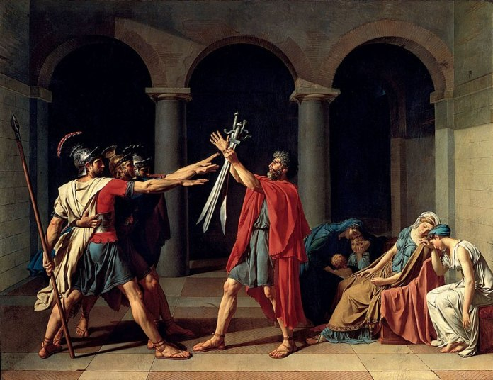 trois hommes casqués tendent leur bras vers des sabres brandis par un vieillard, à droite deux femmes assises éplorées