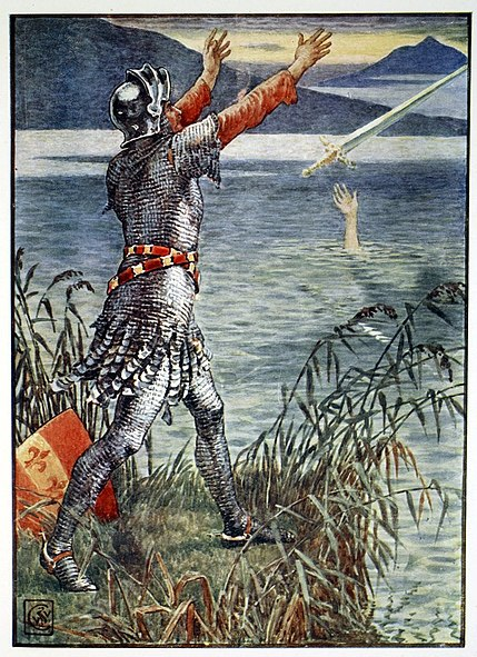 File:King Arthur Sir Bedivere throwing Excalibur into the lake by Walter Crane.jpg