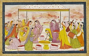 English: Radha celebrating Holi, c1788. (digit...