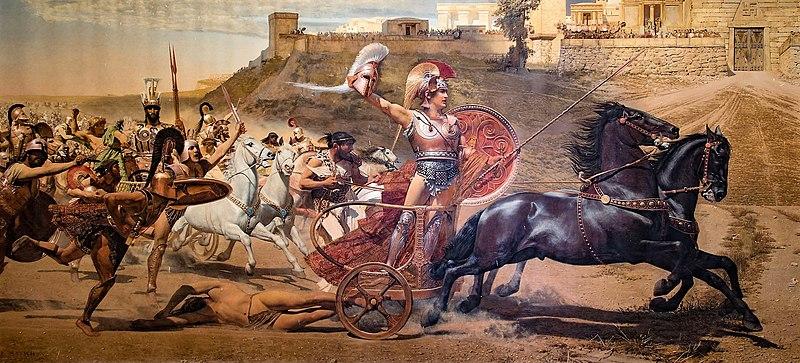 Achille trascina il corpo senza vita di Ettore attorno a Troia. Affresco della fine del XIX secolo nel palazzo dellAchilleion a Corfù, in Grecia. Immagine di dominio pubblico.