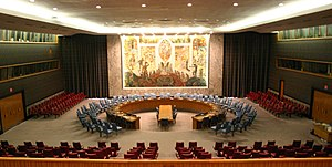 UN Security Council Chamber in New York.