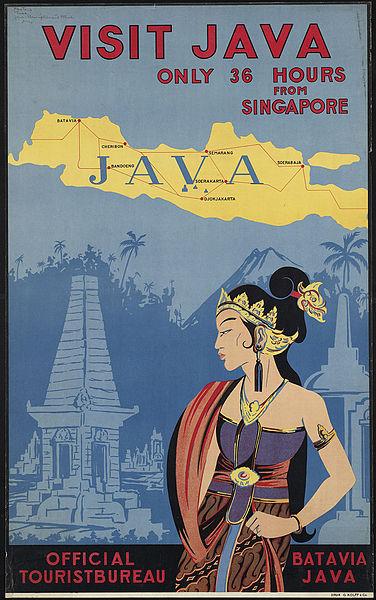Vintage travel posters inspiring tourism to Java Singapore