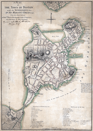 """""""A plan of the town of Boston with the in..."""