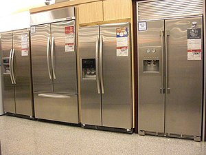 This is a picture of refrigerators, some of wh...