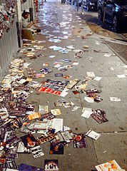 Lots of discarded flyers. This isn't actually a fringe festival, but you get the idea.