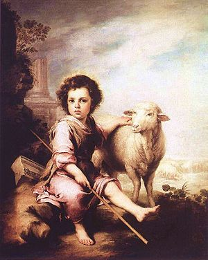 English: Young Christ as the good shepherd