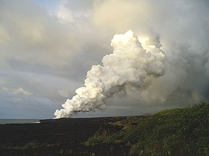 English: Volcanic plume where lava meets sea n...