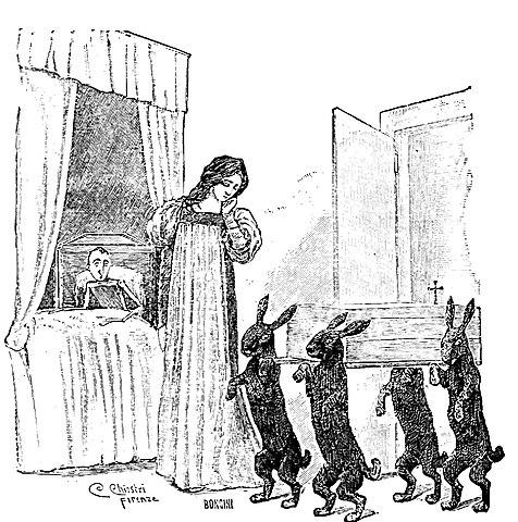 Pinocchio spaventato dai conigli neri nella casa della Fata