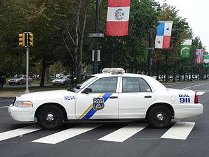 Philadelphia police cruiser on the Ben Frankli...