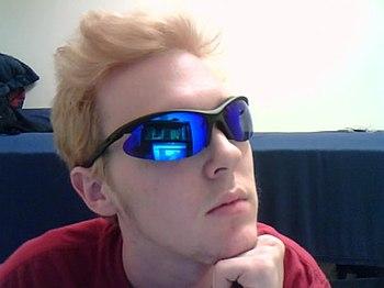 English: teenage boy with sunglasses