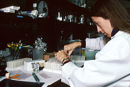 Technician performing laboratory test