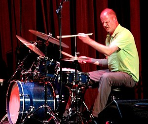 Drummer Whit Dickey performing at the world pr...