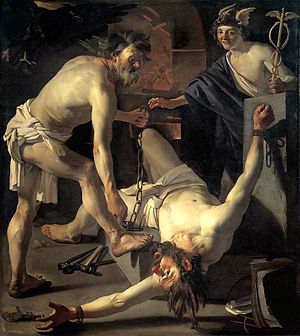 Prometheus Being Chained by Vulcan by Dirck va...