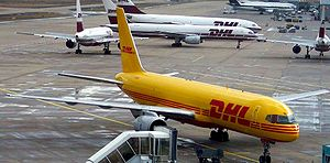 A DHL Boeing 757 at Cologne/Bonn Airport