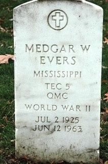 The grave marker of Medgar Evers, slain civil ...