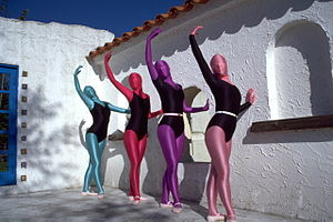 Four women wearing leotards and zentai suits.