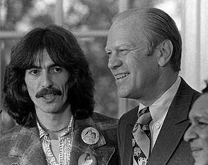 English: George Harrison, Gerald Ford, and Rav...