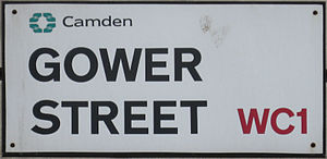 English: Gower Street sign, Camden, London WC1