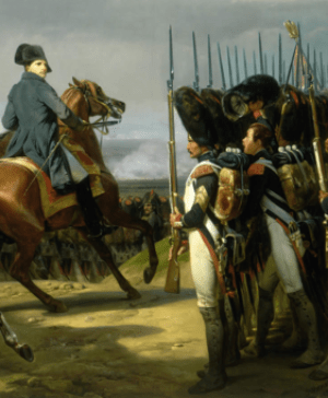 Napoleon reviews his troops shortly before the...