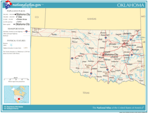Map of Oklahoma showing major roads and thorou...