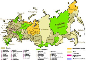 Map of the federal subjects of the Russian Fed...