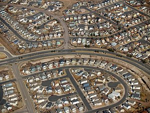 Suburban development in Colorado Springs, Colorado