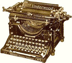 English: Underwood typewriter. Model No. 5