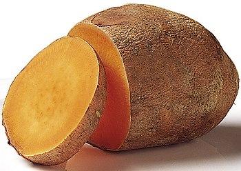 The softer, orange-fleshed variety of sweet po...