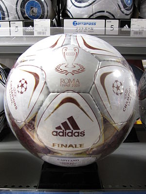 A replica of the Adidas Finale Rome ball used ...