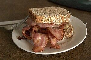 An impressive Bacon Butty.