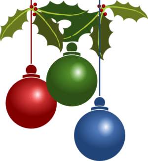 English: Three Christmas ornaments