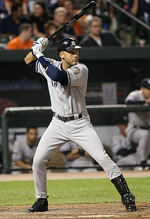 Derek Jeter bats against the Orioles on 4-19-08.
