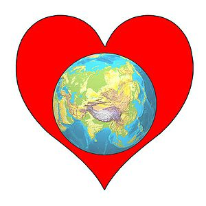 Planet Earth within a Heart. Created by The Pl...