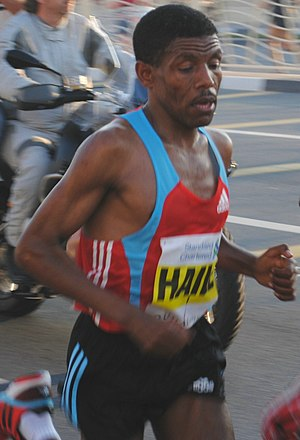 English: Haile Gebreselassie about 2/3 of the ...
