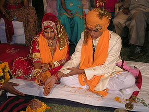 English: Hindu marriage ceremony from a Rajput...