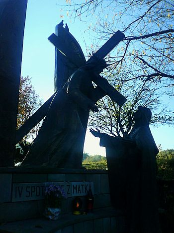 The 4th station of the way of the cross on the...