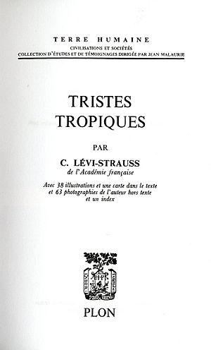 Français : La page de titre de Tristes Tropiqu...