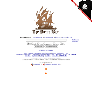 English: A screenshot from The Pirate Bay's ma...