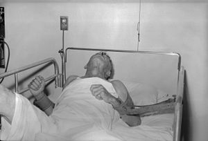 Patient with rabies, 1959